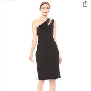 Calvin Klein One Shoulder Embellished Sheath Size2